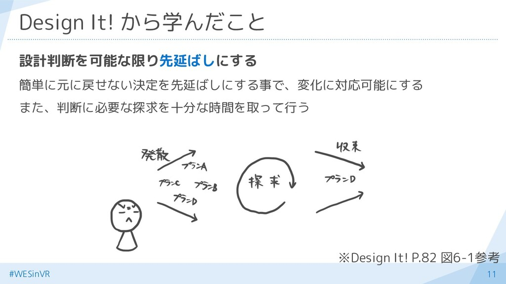 11 Design It! から学んだこと 設計判断を可能な限り先延ばしにする 簡単に元に戻せ...