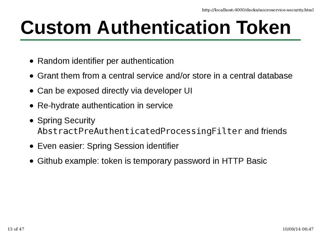 Custom Authentication Token Random identifier p...