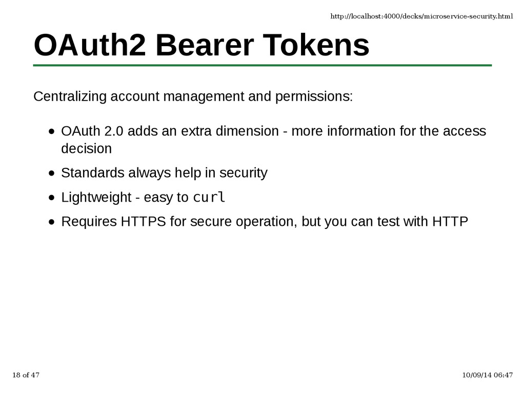 OAuth2 Bearer Tokens Centralizing account manag...
