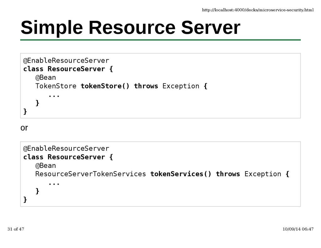 Simple Resource Server @EnableResourceServer cl...