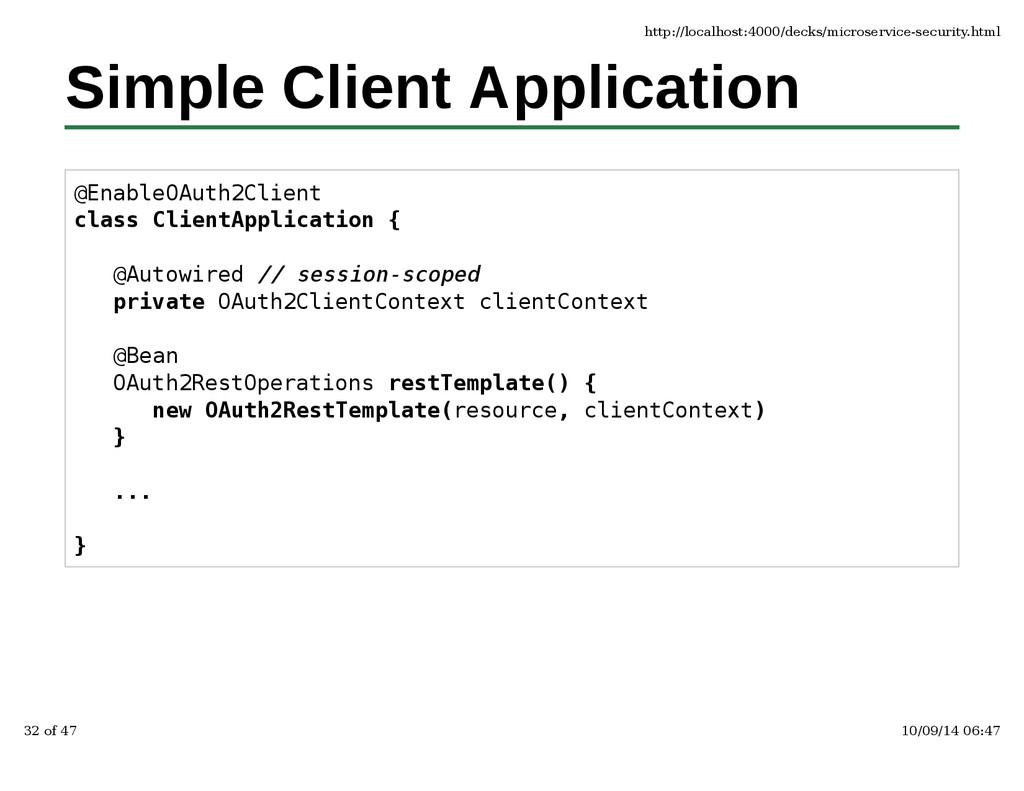 Simple Client Application @EnableOAuth2Client c...