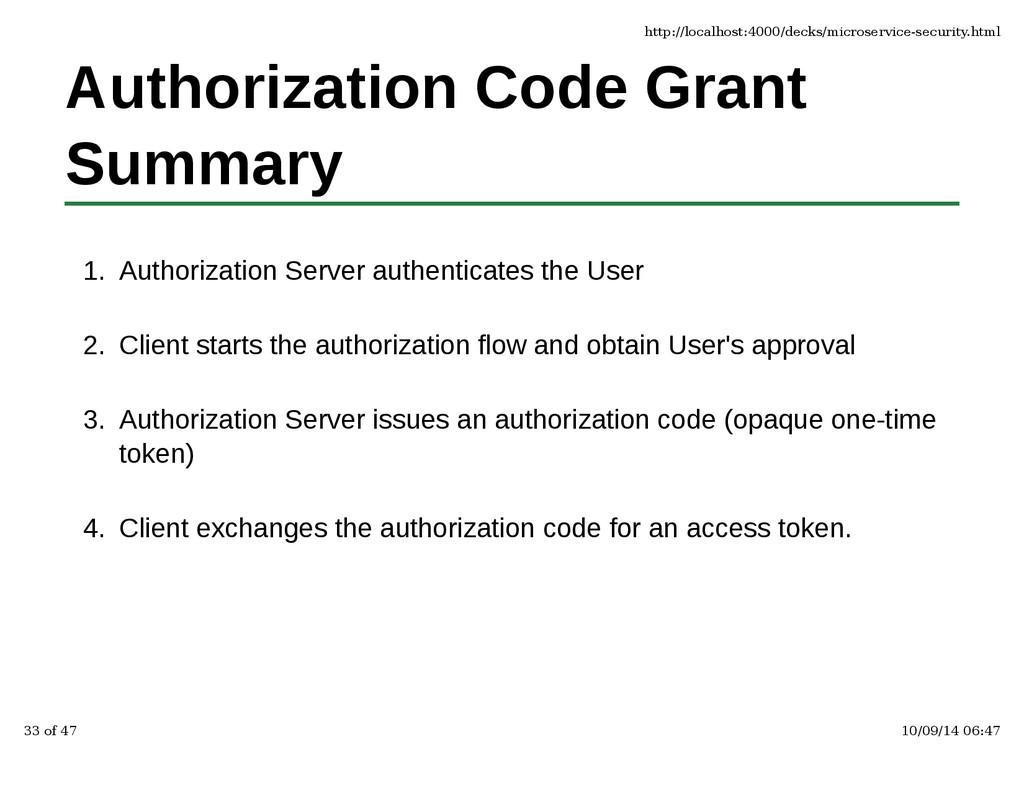 Authorization Code Grant Summary Authorization ...