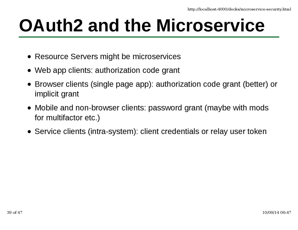 OAuth2 and the Microservice Resource Servers mi...