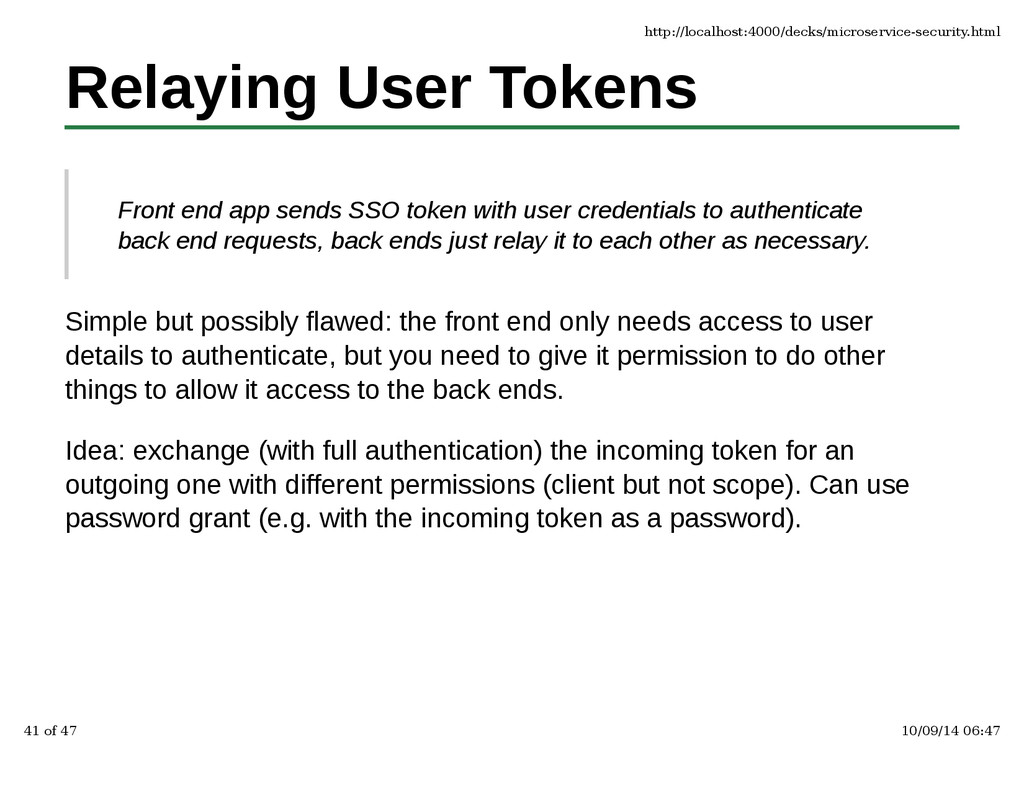 Relaying User Tokens Front end app sends SSO to...