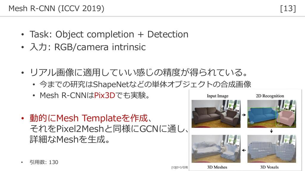 Mesh R-CNN (ICCV 2019) [13] 36 • Task: Object c...
