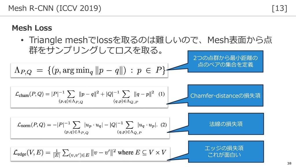 Mesh R-CNN (ICCV 2019) [13] 38 • Triangle meshで...
