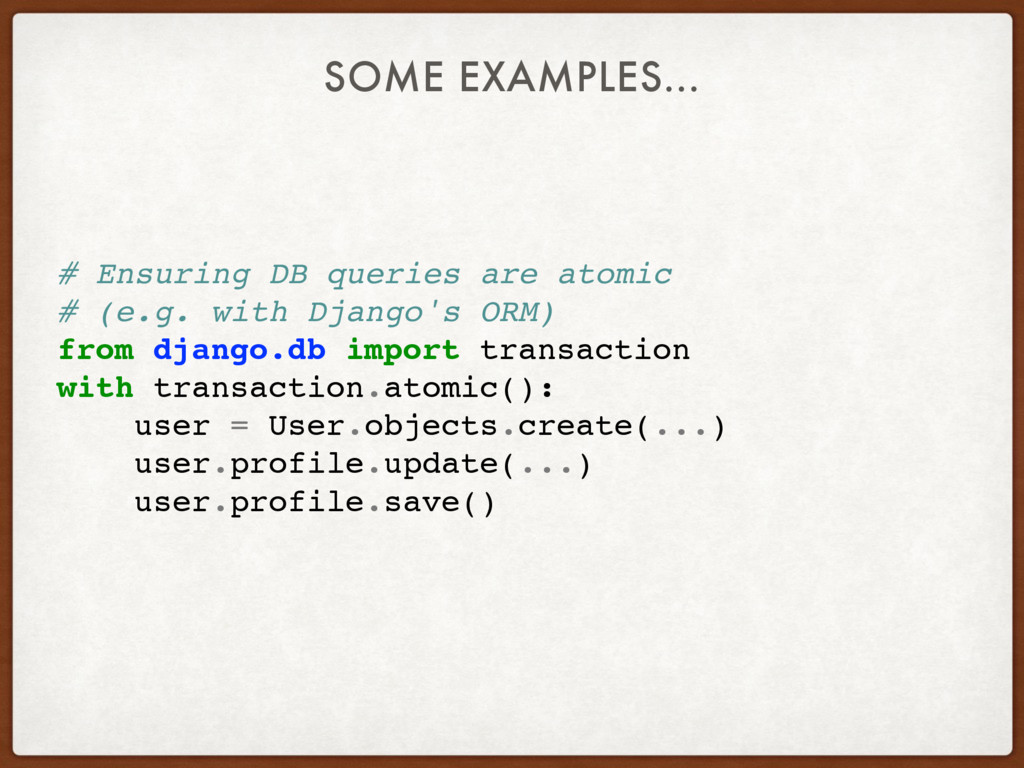 # Ensuring DB queries are atomic # (e.g. with D...