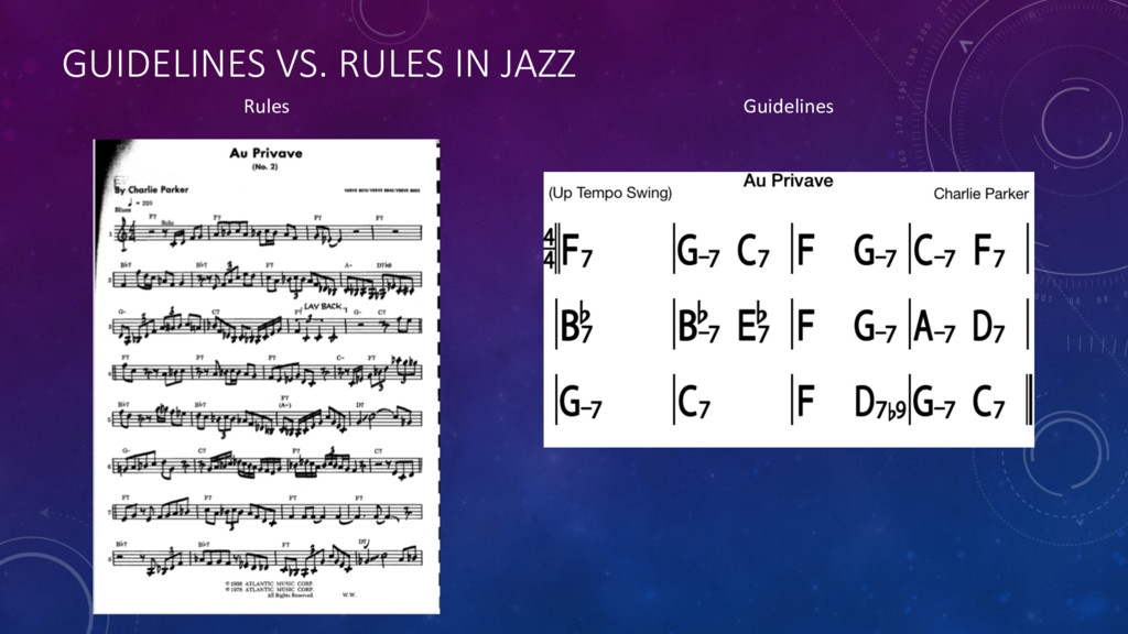 GUIDELINES VS. RULES IN JAZZ Rules Guidelines