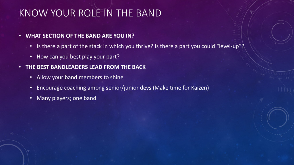 KNOW YOUR ROLE IN THE BAND • WHAT SECTION OF TH...