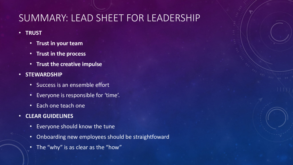 SUMMARY: LEAD SHEET FOR LEADERSHIP • TRUST • Tr...