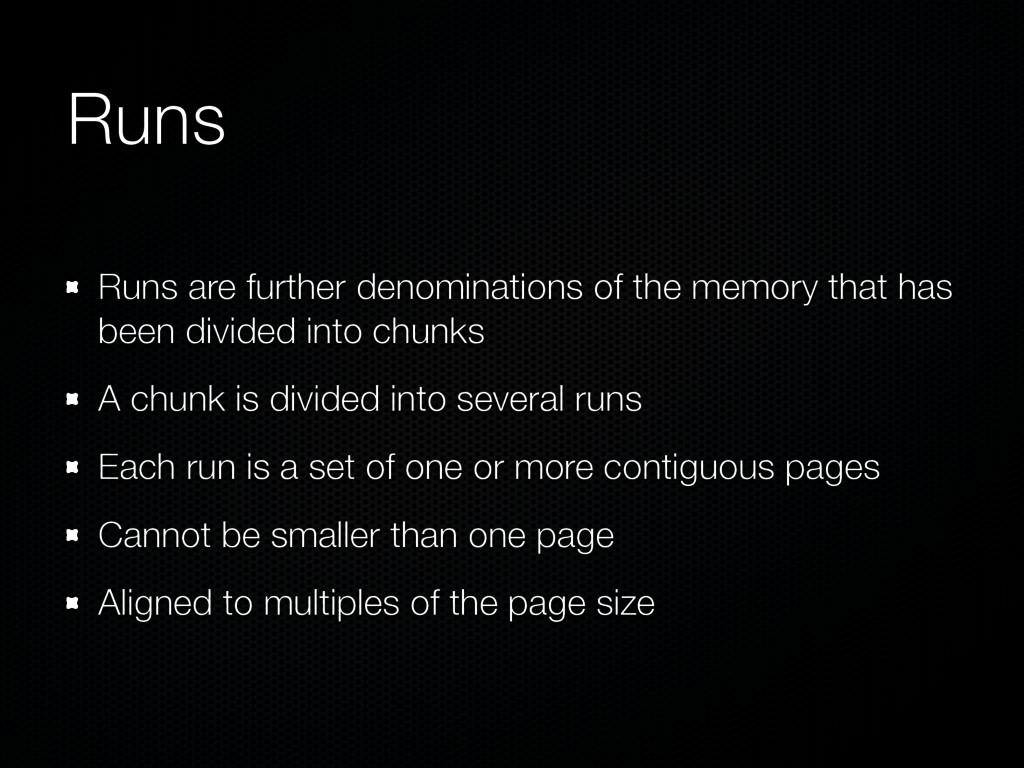 Runs Runs are further denominations of the memo...