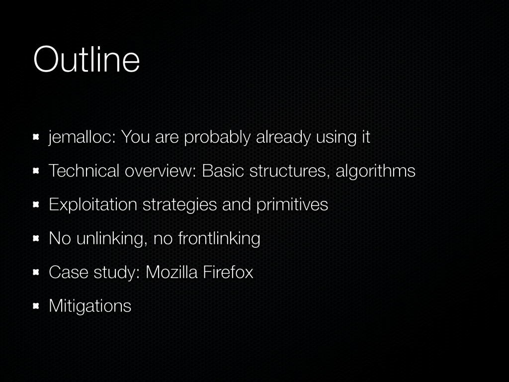 Outline jemalloc: You are probably already usin...