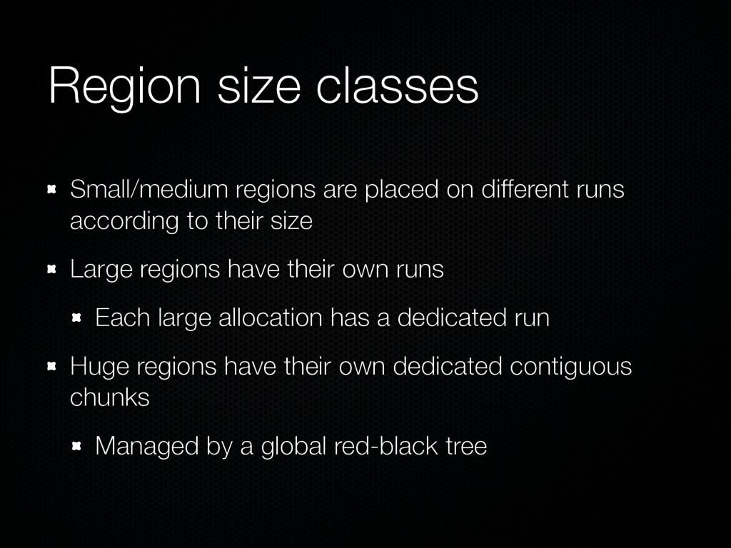 Region size classes Small/medium regions are pl...
