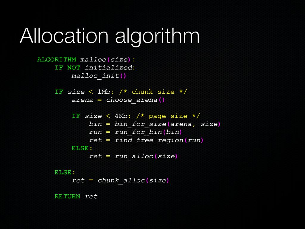 Allocation algorithm ALGORITHM malloc(size): IF...