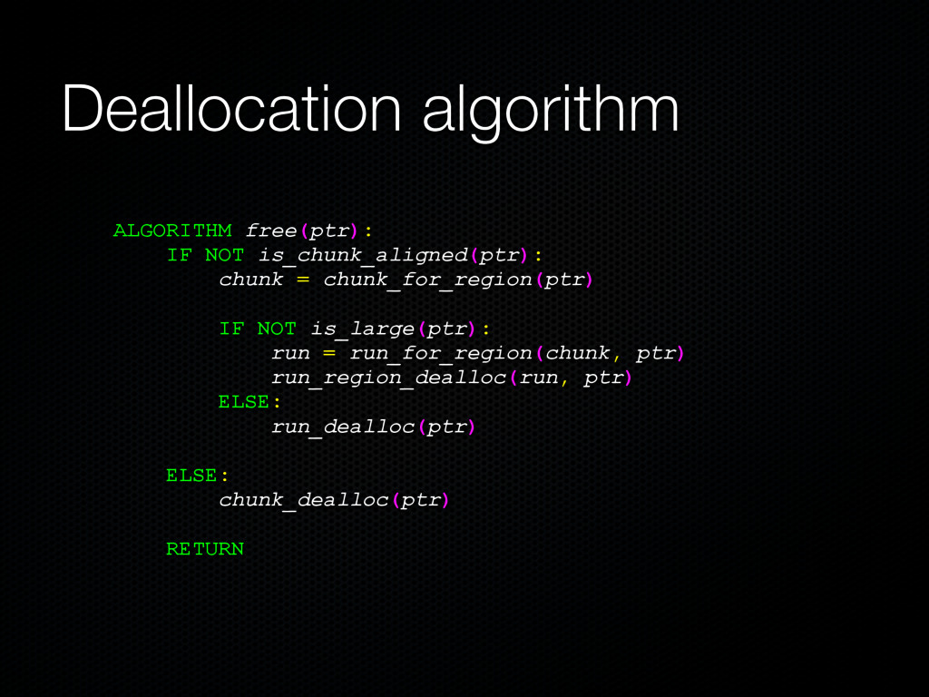 Deallocation algorithm ALGORITHM free(ptr): IF ...