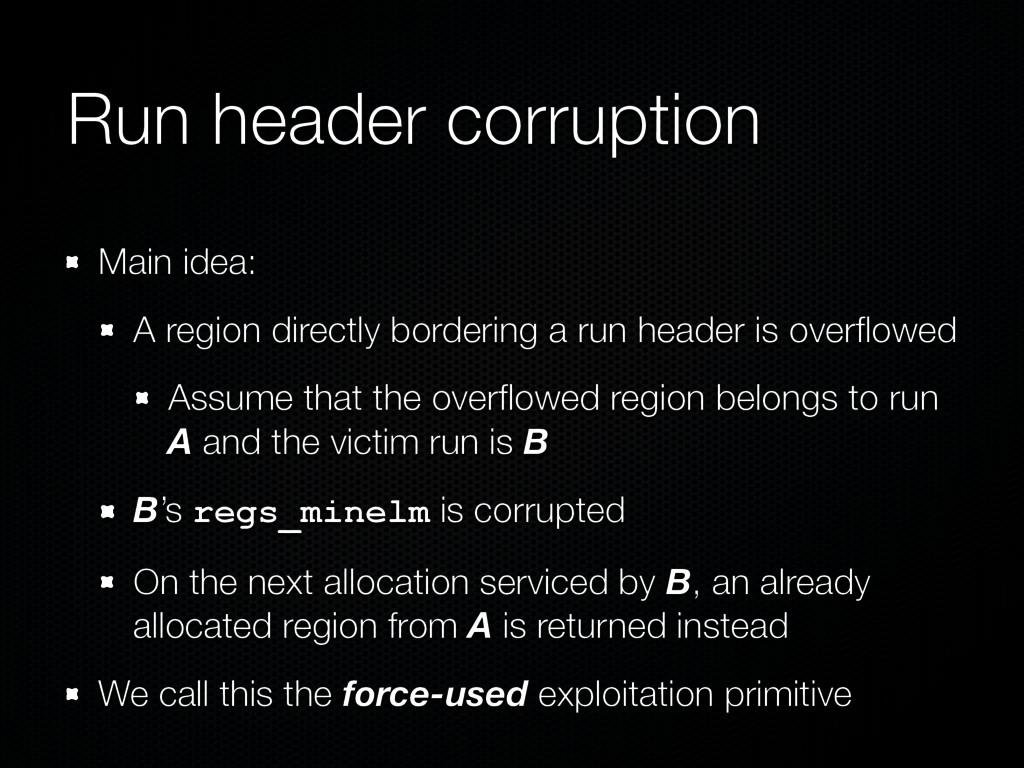 Run header corruption Main idea: A region direc...