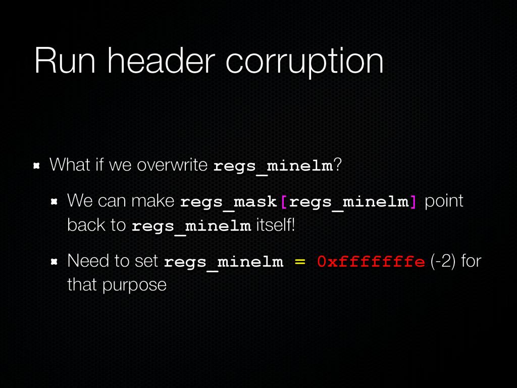 Run header corruption What if we overwrite regs...