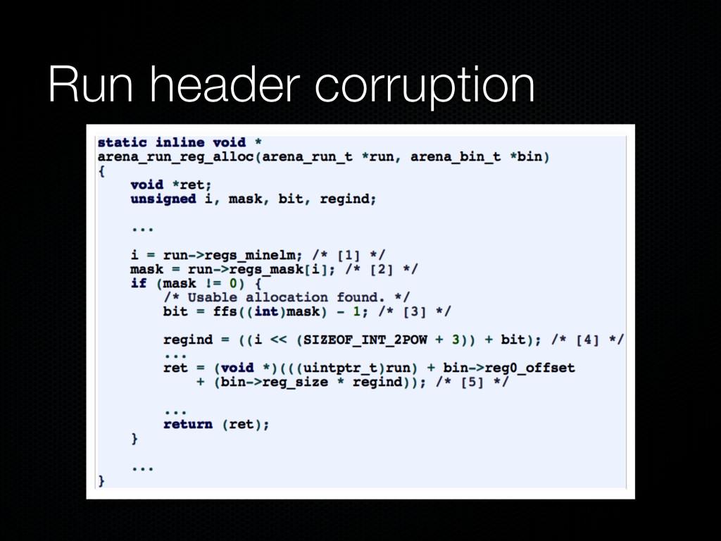 Run header corruption