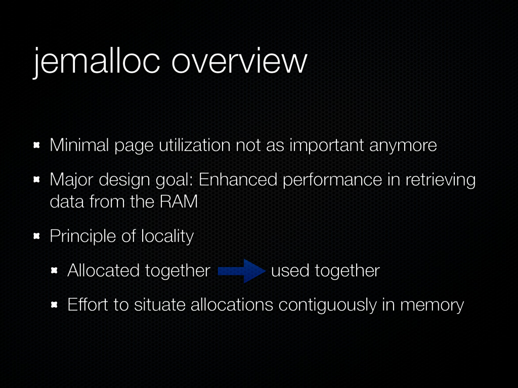 jemalloc overview Minimal page utilization not ...