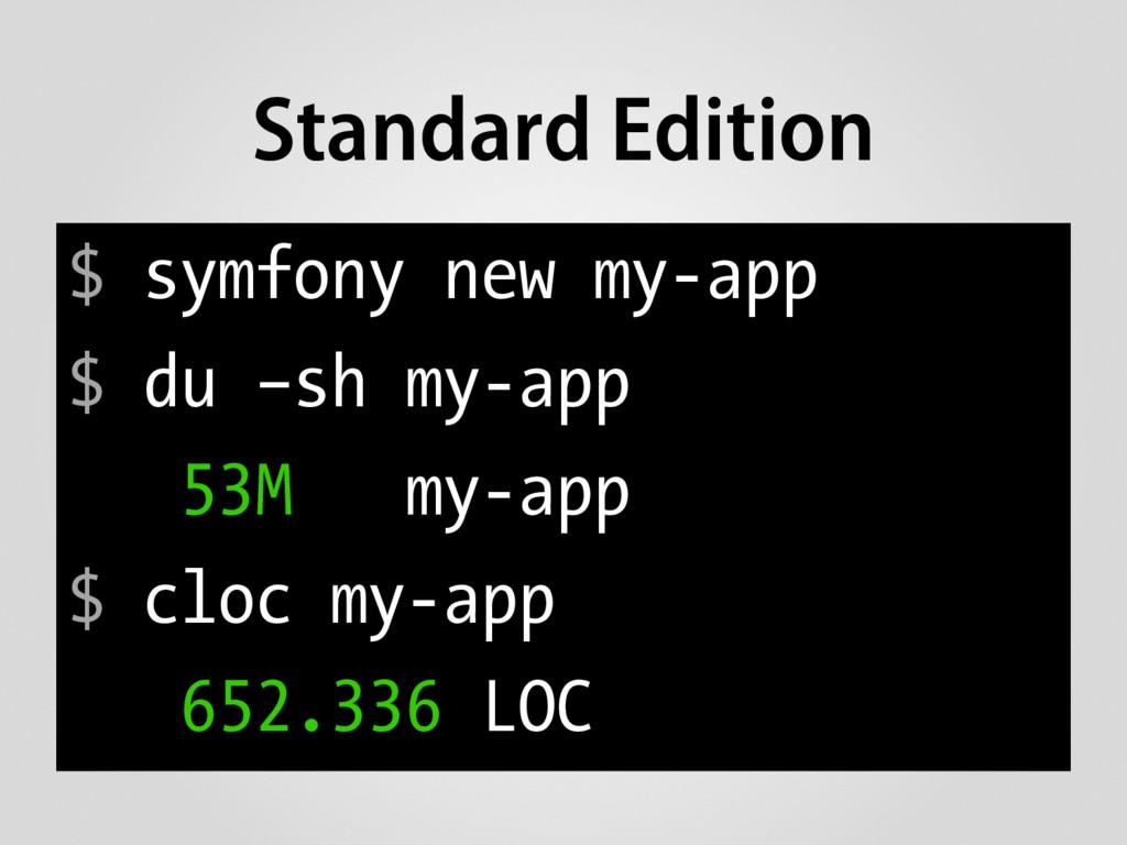 $ symfony new my-app $ du –sh my-app 53M my-app...