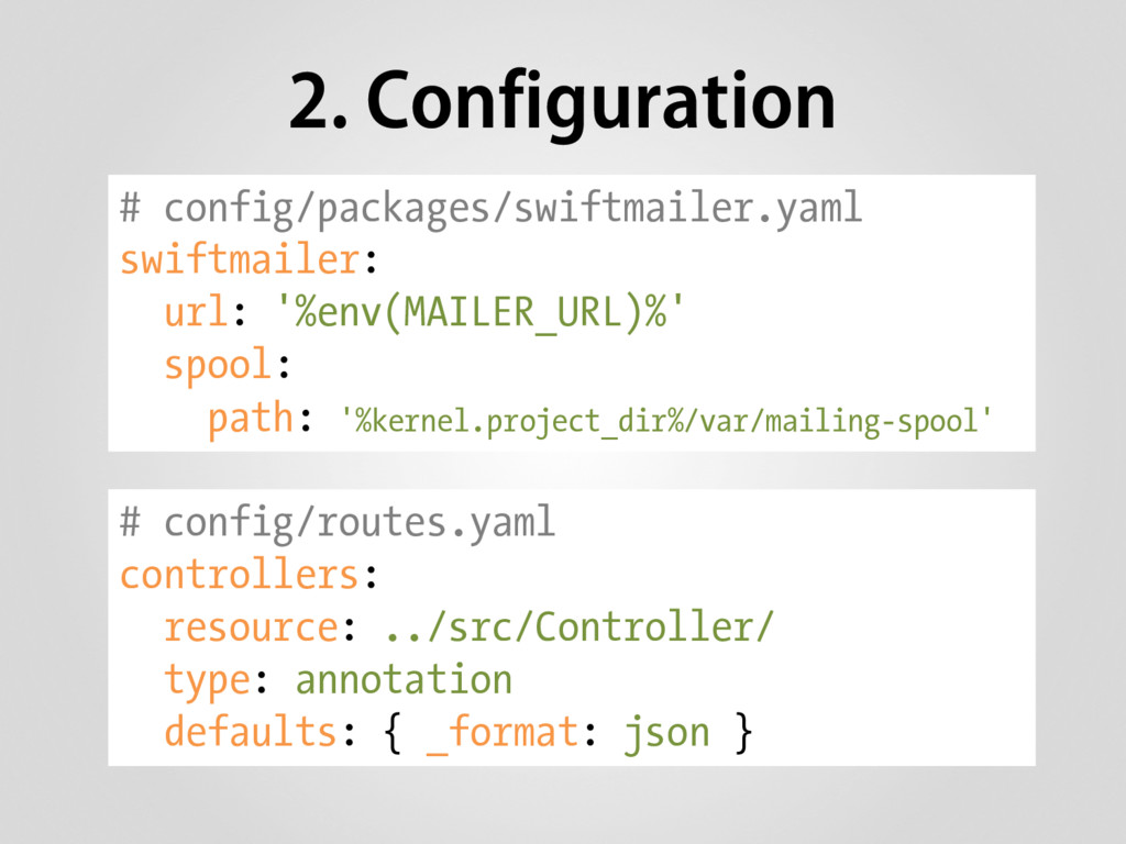 2. Configuration # config/packages/swiftmailer....