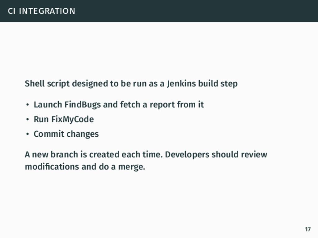 ci integration Shell script designed to be run ...