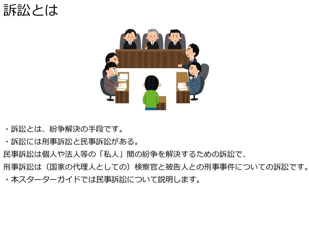 訴訟とは ・訴訟とは、紛争解決の手段です。 ・訴訟には刑事訴訟と民事訴訟がある。 民事訴訟は個...