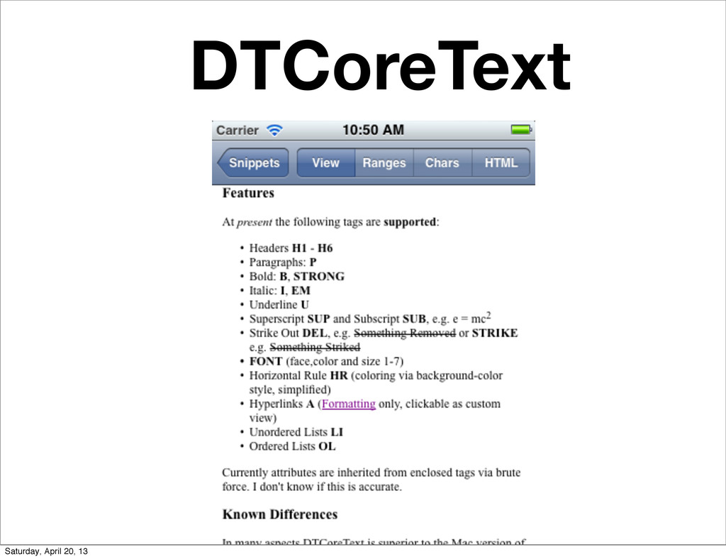 DTCoreText Saturday, April 20, 13