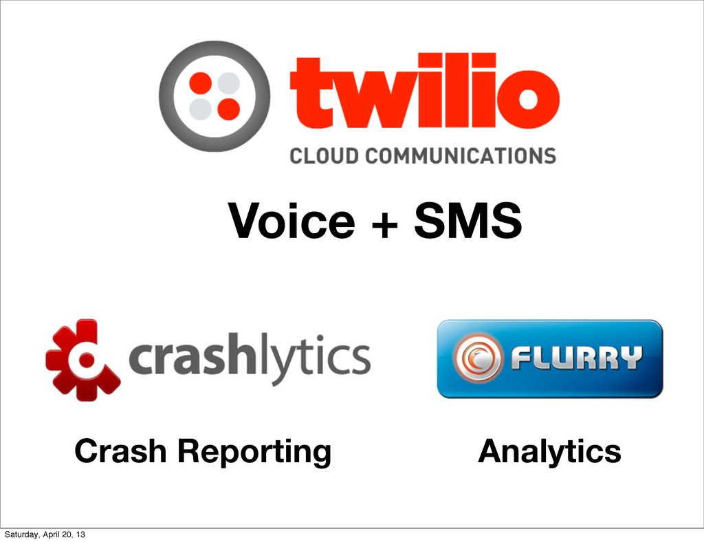 Voice + SMS Crash Reporting Analytics Saturday,...