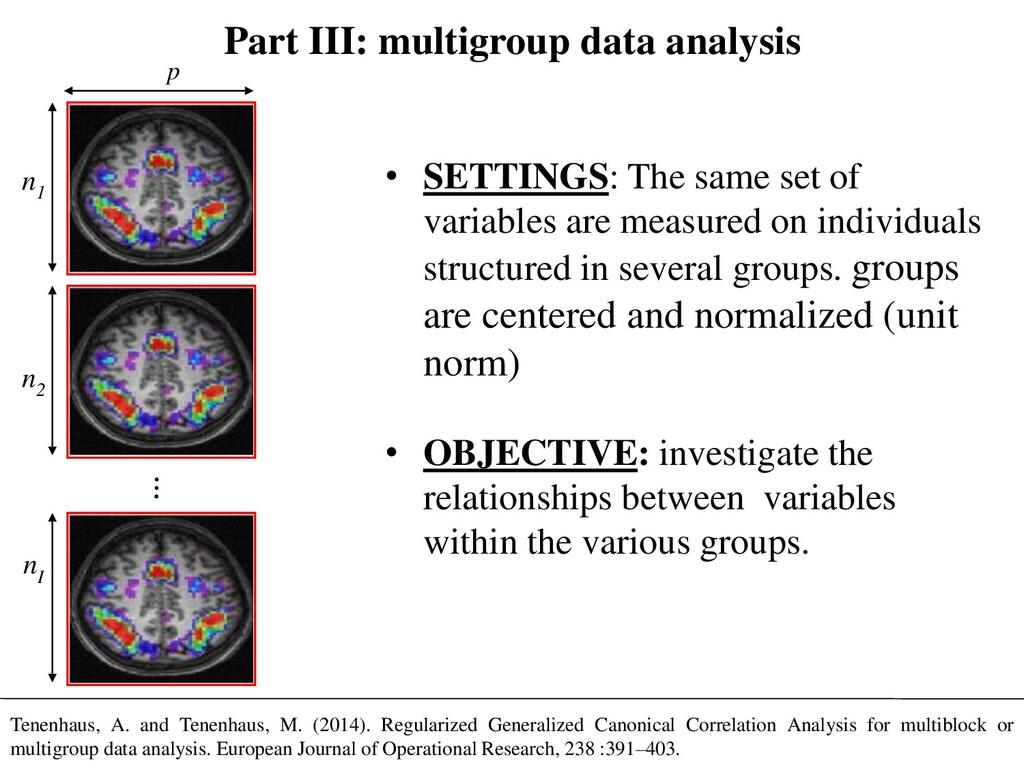 Part III: multigroup data analysis • SETTINGS: ...