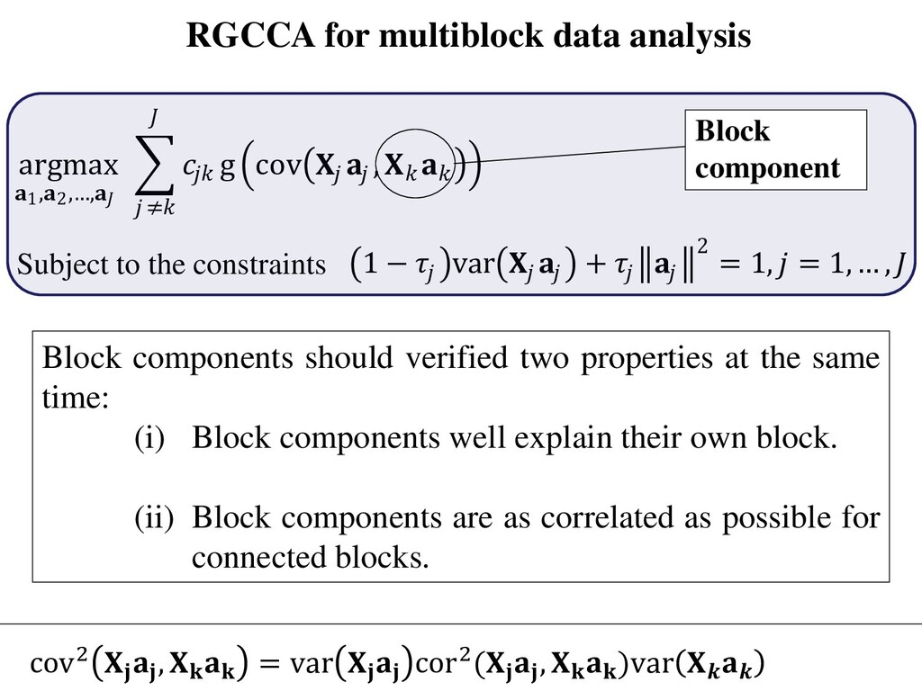 RGCCA for multiblock data analysis argmax 1,2,…...
