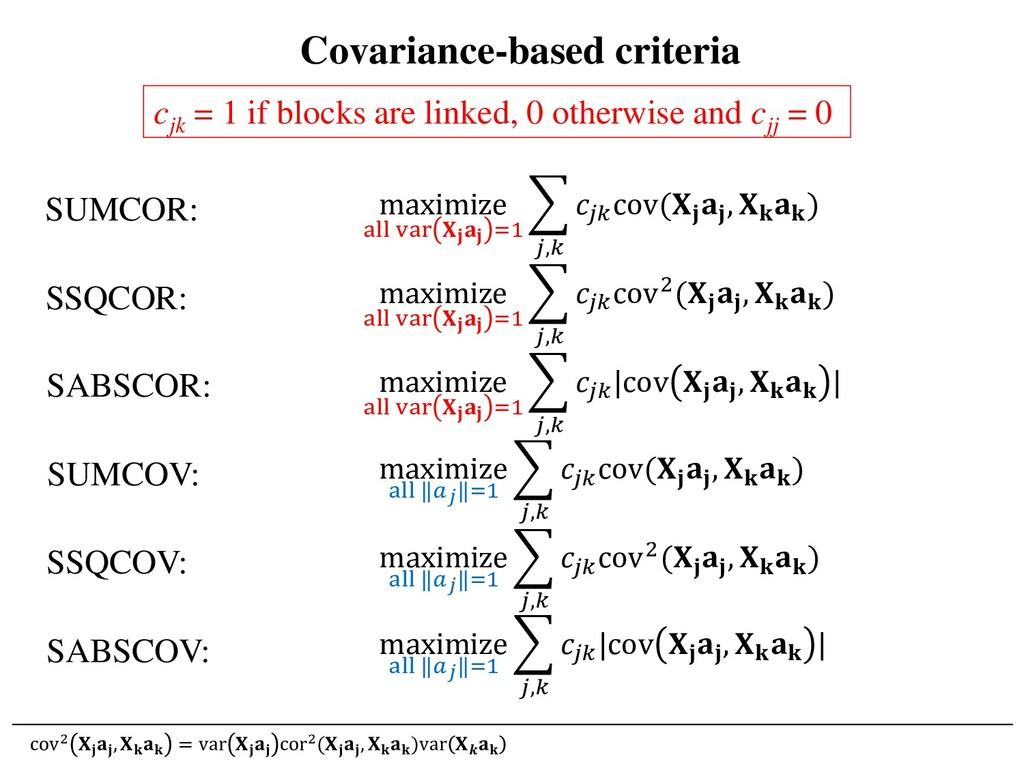 Covariance-based criteria cjk = 1 if blocks are...