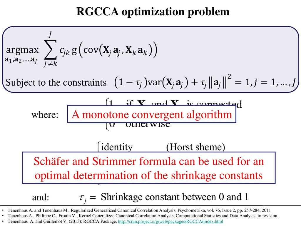 RGCCA optimization problem argmax 1,2,…,  g cov...