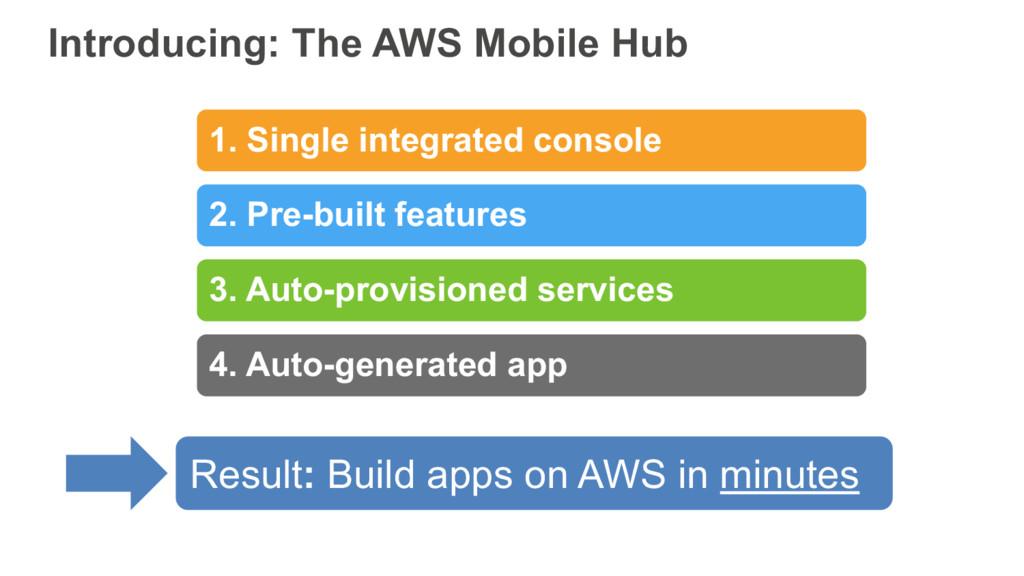 Introducing: The AWS Mobile Hub 1. Single integ...