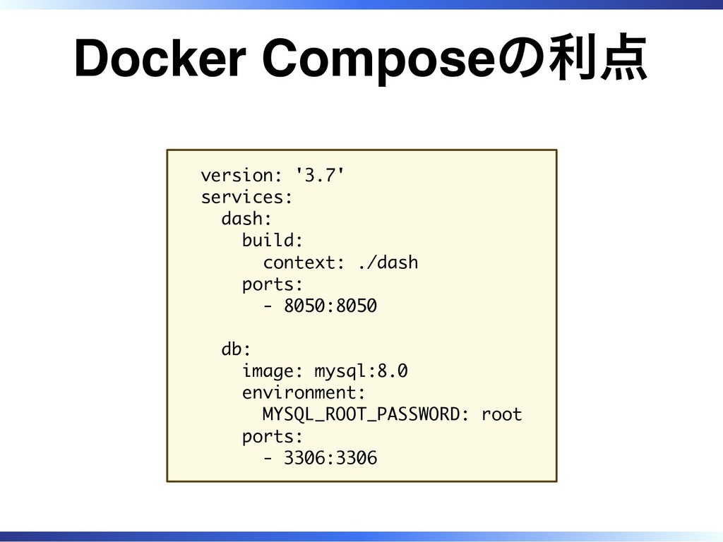 Docker Composeの利点 version: '3.7' services: dash...