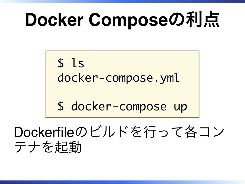Docker Composeの利点 $ ls docker-compose.yml $ doc...