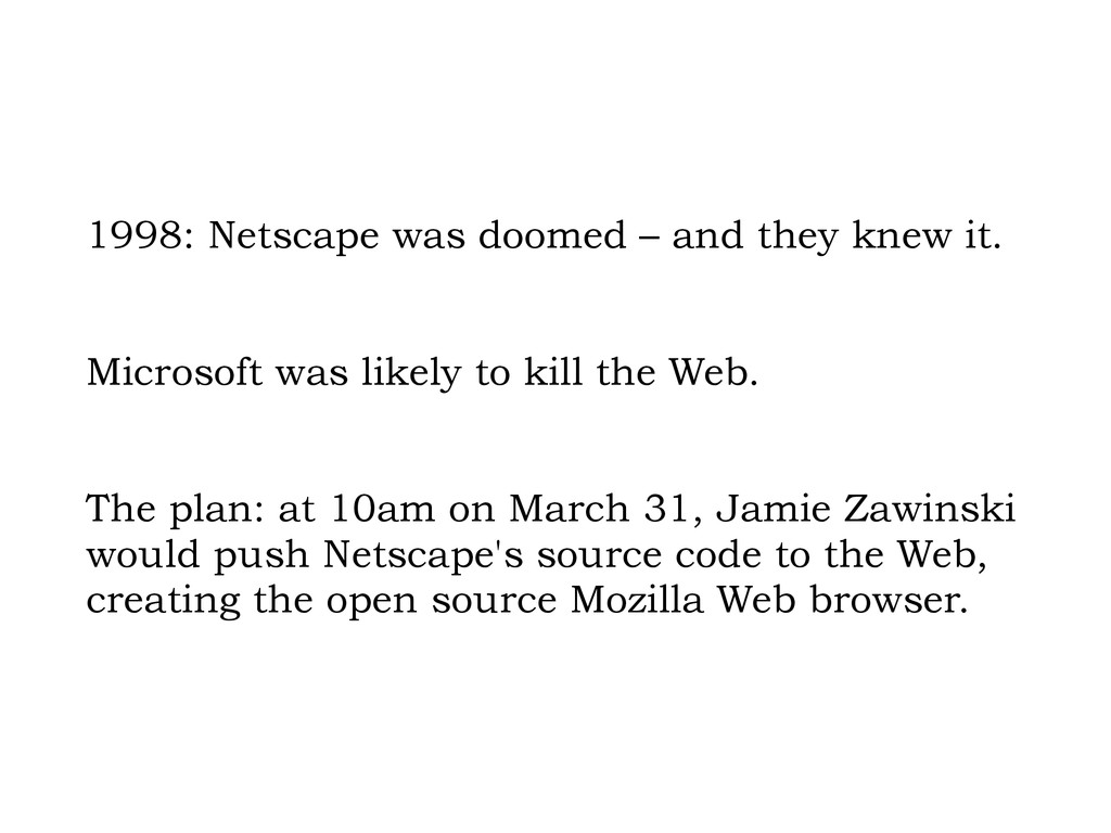 1998: Netscape was doomed – and they knew it. M...