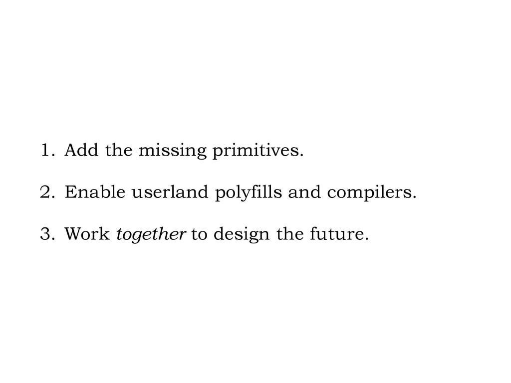 1. Add the missing primitives. 2. Enable userla...