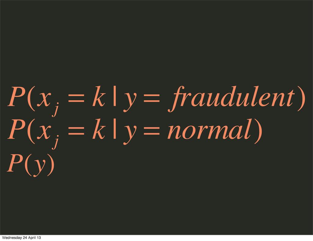 P(x j = k | y = fraudulent) P(x j = k | y = nor...