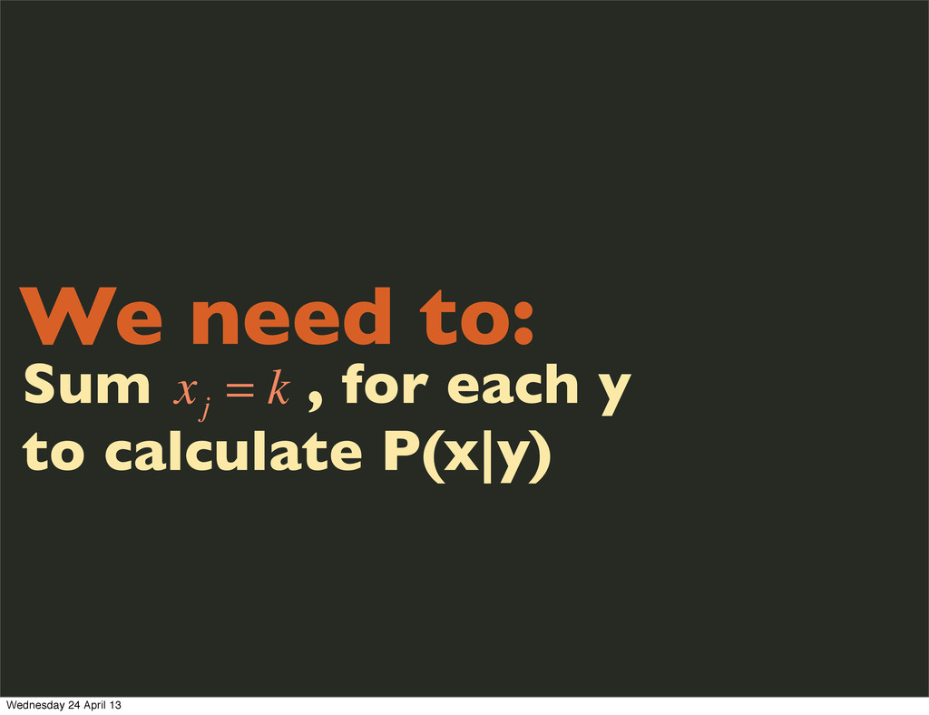 We need to: Sum , for each y to calculate P(x|y...