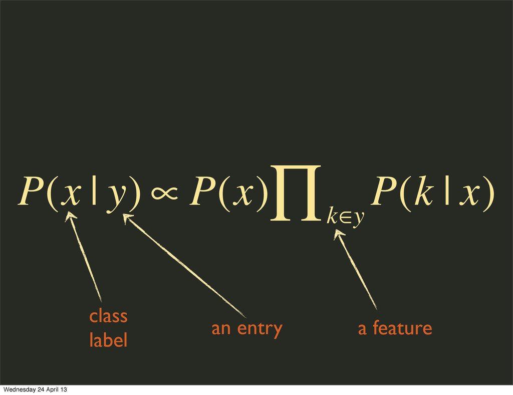 class label an entry a feature P(x | y) ∝ P(x) ...