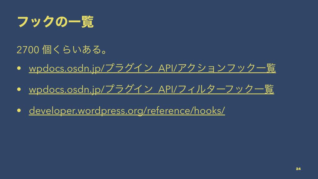 ϑοΫͷҰཡ 2700 ݸ͘Β͍͋Δɻ • wpdocs.osdn.jp/ϓϥάΠϯ_API/...