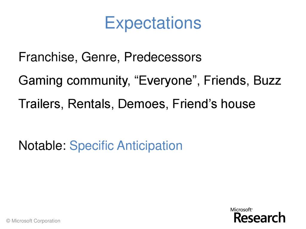 © Microsoft Corporation Expectations Franchise,...
