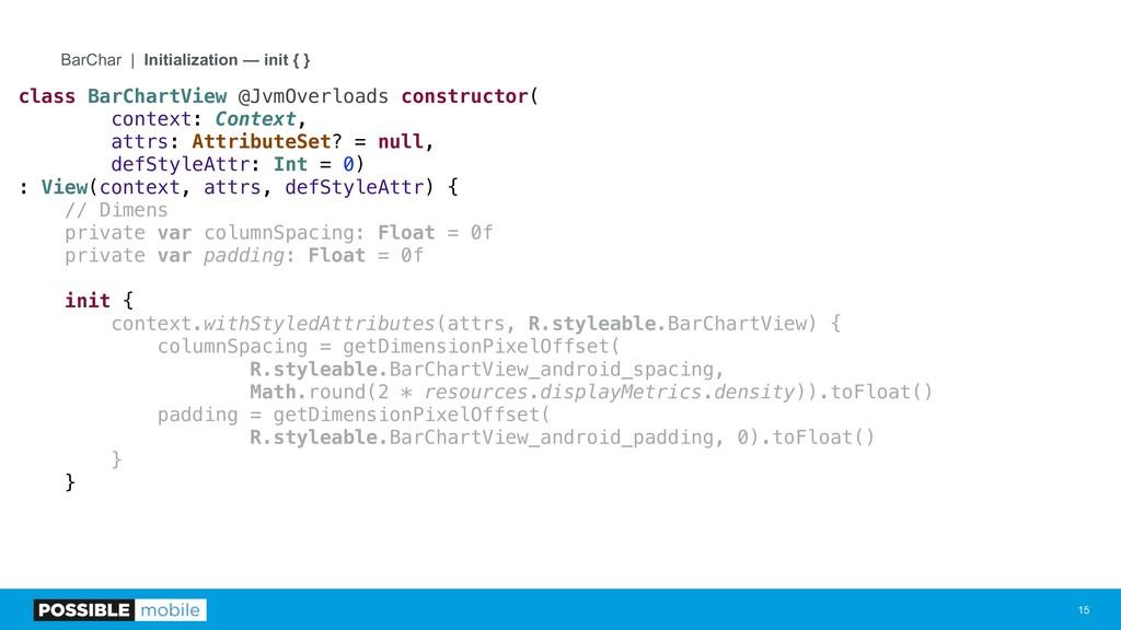 !15 BarChar | Initialization — init { } class B...