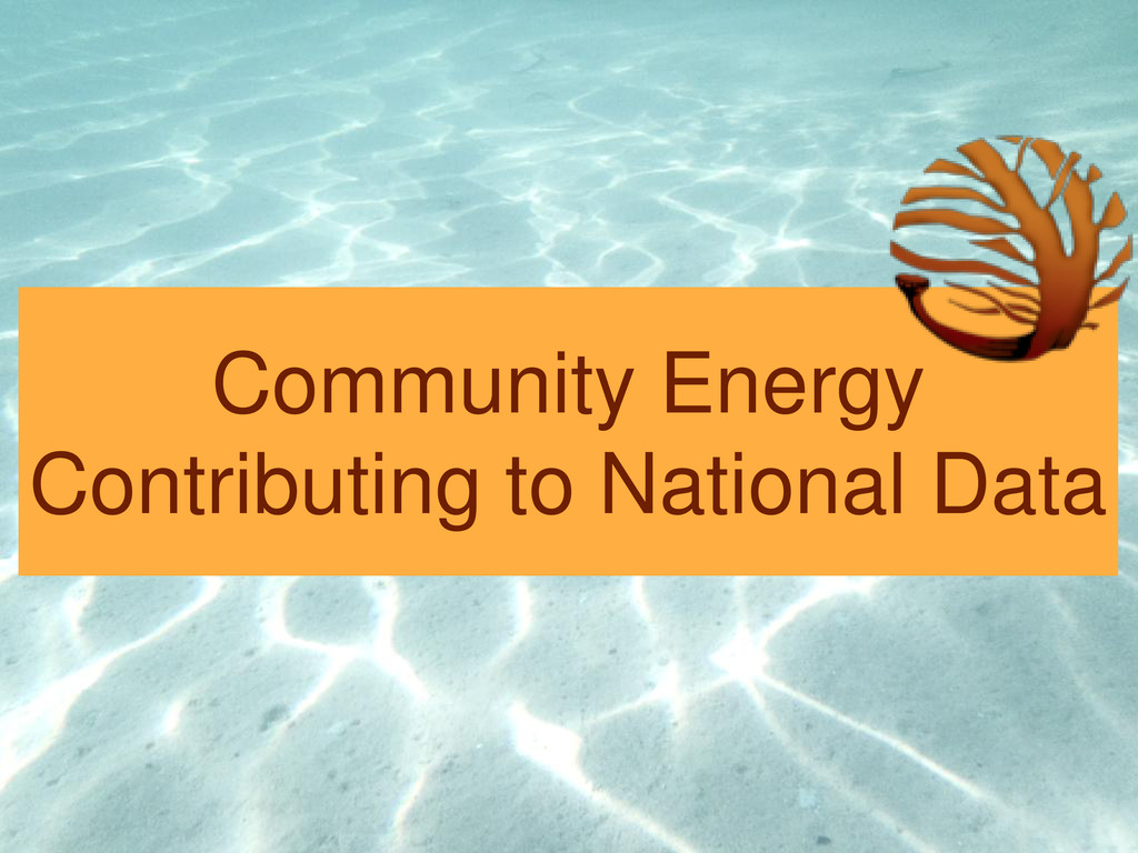 Community Energy Contributing to National Data