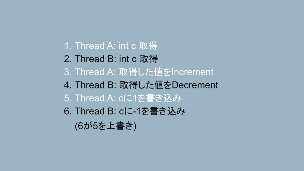 1. Thread A: int c 取得 2. Thread B: int c 取得 3. ...