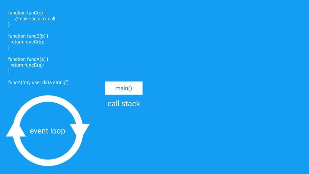 main() function funC(c) { … //make an ajax call...