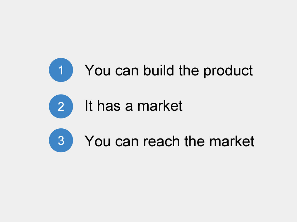 You can build the product It has a market You c...