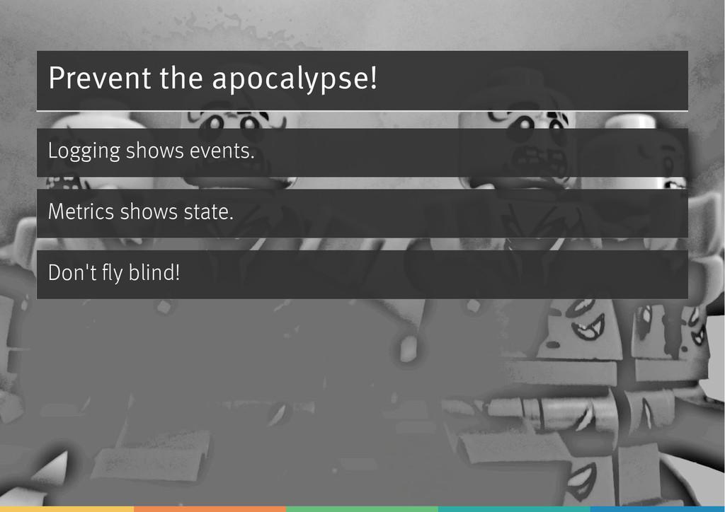 Prevent the apocalypse! Logging shows events. M...