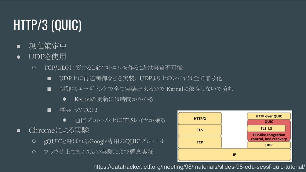 HTTP/3 (QUIC) ● 現在策定中 ● UDP を使用 ○ TCP/UDP に変わる ...